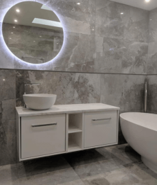Wet room installation with free standing bath & wall hung amenities